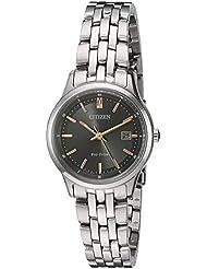 Citizen Womens Eco-Drive Bracelet Quartz Stainless Steel Watch, Color:Silver-Toned (Model: EW2400-58H)