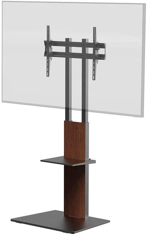 Monoprice TV Mount and Stand - Brown, with Shelf for Displays 37in to 70in, Max Weight 88lbs, VESA Patterns up to 600x400 - Commercial Series