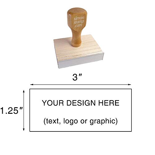 "Traditional Wood Handle Rubber Stamp. Max. Image Size: 1-1/4"" high x 3"" Wide (31mm x 76mm) - Many Sizes to Choose from - Upload Your Own Artwork"