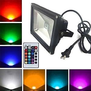 Ledtcx Black Waterproof 30W 2900LM RGB Light Remote Controlled LED Flood Lamp + 1.5m Extension cord + US Plug (AC85V-265V)