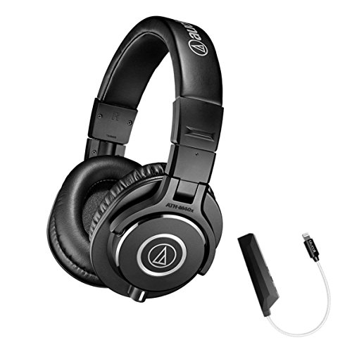Audio-Technica ATH-M40x Professional Studio Monitor Headphone PLUS Blucoil AQUA Portable In-Line DAC and Amplifier - iPhone Lightning Adapter by blucoil