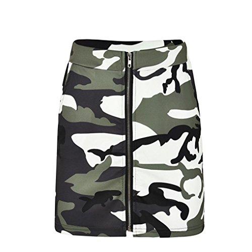 Zipper Moulantes Jupe Fathoit Camouflage Vert Femmes Jupe Sexy Jupes Arme Mini Dames Impression wERS0qE