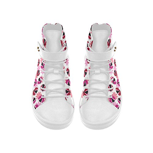 Cheap D-Story Round Toe High Top Shoes Lucky Lady Bug Pattern Womens Sneakers
