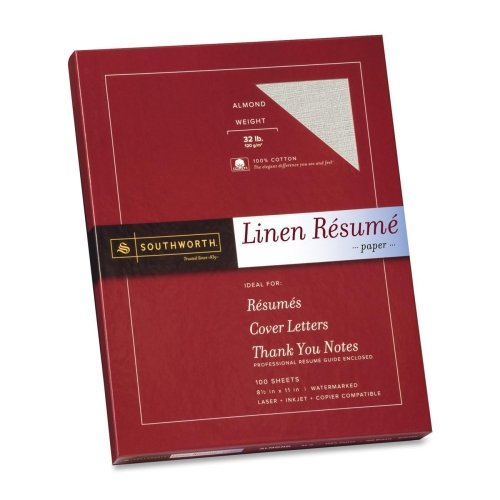Southworth Linen Resume Paper - Letter - 8.5'' x 11'' - 32lb - Recycled - Linen - 100 / Box - Almond (Paper Resume Southworth Linen)