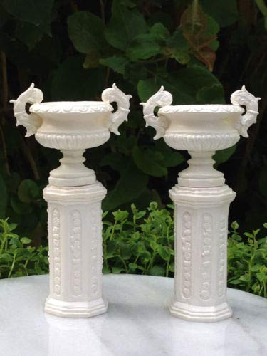 Statue Out 2 White Ancient Urns w/Pedestals - Fairy Garden Miniature