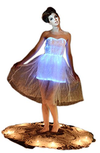 Fiber Optic Strapless Wedding Bridesmaid Lace Dress Glow in the Dark Backless Party Dress Dance Wear (M, White)