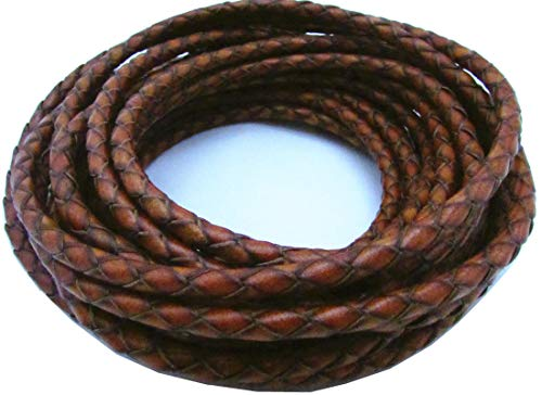 4mm Round Black Rubber Necklace - 4.0mm 5meters Round Folded Bolo Braided PU Leather Cords for Necklace Bracelet Jewelry Making(About 5.5yards (Reddish Brown, 5 Meters)