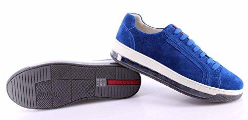 Scarpe Sneakers Uomo PRADA 4E2701 Scamosciato Cobalto Blu Suola Air Comfort New