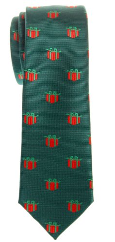 Retreez Christmas Gift Graphic Woven Microfiber Skinny Tie - Green, Christmas Gift