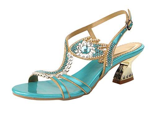 Honeystore Neuheiten Frauen Lackleder Quadrat Absatz Sandalen Blumen Sandalette Slingpumps mit Strass Schuhe ZX-L003 Blau
