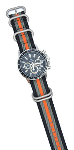 ArtStyle Watch Band with Colorful Nylon Material Strap and Heavy Duty Brushed Buckle (Black/Grey/Orange, 20mm) Photo #3