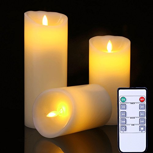 Flame Gift (Flameless Candles Flickering Light High Pillar Real Smooth Wax for Gifts and Decoration (Set of 3))