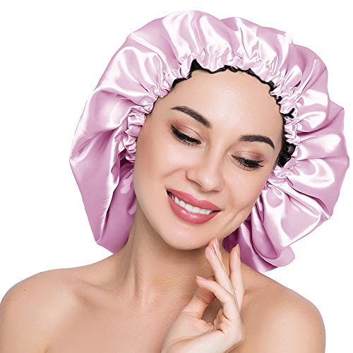 (ELIHAIR Stain Bonnet Silk Sleep Cap Adjustable Satin Cap for Night Sleeping Hair Bonnet Reversible Double Layer X-Large Size Light Purple/Black )