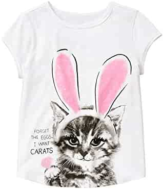 Gymboree Big Girls' Short Sleeve Cat in Bunny Ears Graphic Tee