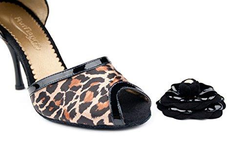 Leopardo Pd502 Portdance Chaussues Centimetri 5 Sottile Satinato Tango Nero Donne 7 SREOwqYO