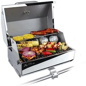 """Camco Kuuma Premium Stainless Steel Mountable Gas Grill w/Regulator Compact Portable Size Perfect for Boats, Tailgating and More - Stow N Go 216"""" (58155)"""