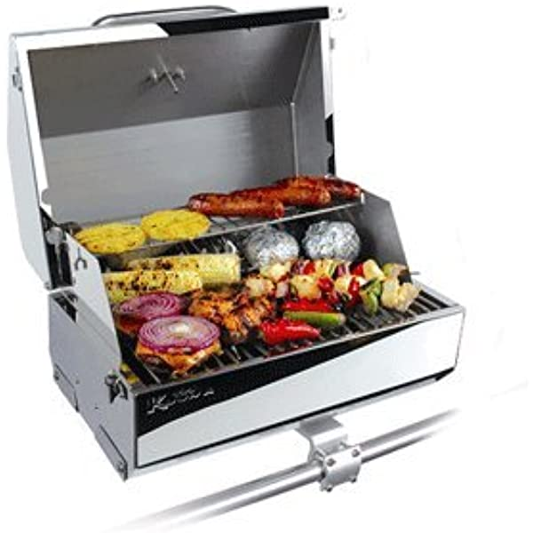 Amazon Com Camco Kuuma Premium Stainless Steel Mountable Gas Grill W Regulator Compact Portable Size Perfect For Boats Tailgating And More Stow N Go 216 58155 Automotive