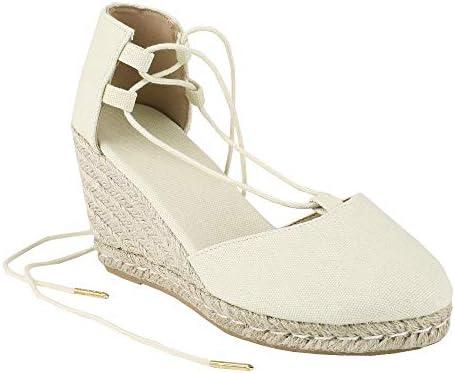 2f9b94a29d9d2 Womens Espadrille Platform Wedge Sandals Closed Toe Lace Up Ankle ...