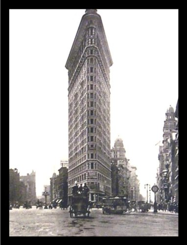 (Buyartforless IF V455743 16x12 1.25 Plexi Framed Flat Iron Building Turn of The Century Photograph 19.75X15.5 Art Print Poster New York City Horse & Buggy)