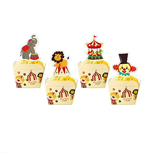 Circus Animal Cake Cupcake Toppers and Cups for
