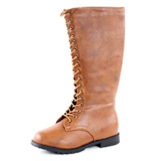 4911ec7c6f0d6 West Blvd Womens DELHI COMBAT Boots Knee High Lace Up Military Army ...