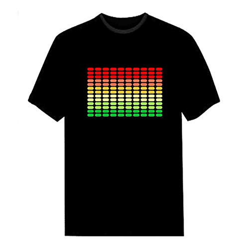 (SODIAL Men Sound Activated Led T-Shirt Light Up Flashing Rock Disco Equalizer Short Sleeve Led T Shirt M Black)