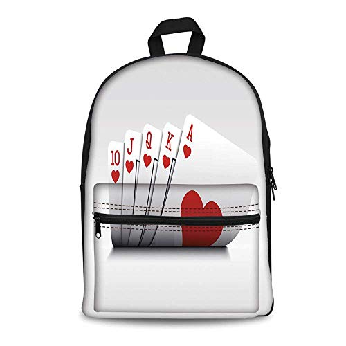 Poker Tournament Decorations Stylish Canvas School Bag,Royal Flush Playing Cards Hearts Betting Bluff Gambling Decorative for School Travel,11.4