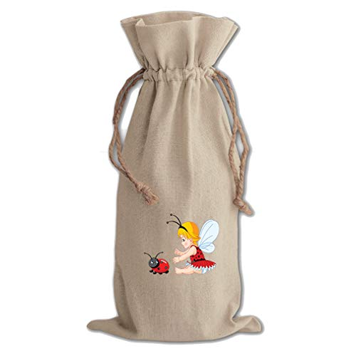 Little Girl With Wings And Ladybird Cotton Canvas Wine Bag, Cotton Drawstring