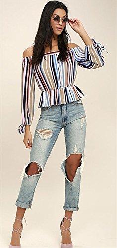 Moda Off The Shoulder Hombros al Descubiertos Aire Escote Bardot Manga Larga Manga de Obispo con Rayas Sobrefalda Blusón Blusa Camisero Camiseta Camisa Top Colorful Stripe