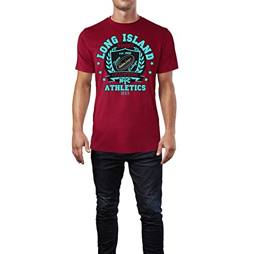 Sinus Art ® Herren T Shirt Long Island Athletics NYC ( Independence_Red ) Crewneck Tee with Frontartwork