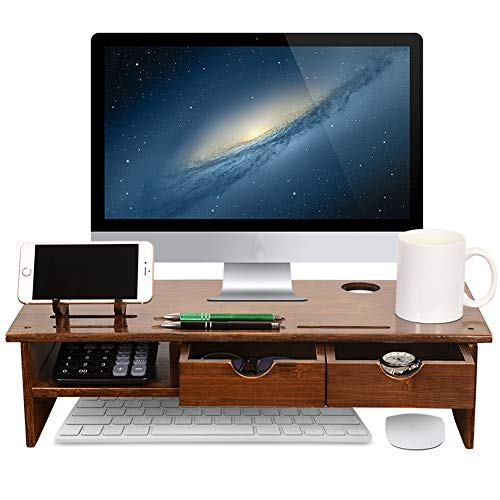 Sundale Bamboo Wood Monitor Stand Ergonomic Computer Riser with Storage Organizer Drawers Desktop Laptop Shelf Risers Cellphone Stand for Home and Office Use, Classic Antique - Shelf Computer