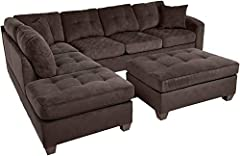 Classic L- shaped sectional sofa equipped with a much sought after chaise lounger feature for ultimate comfort and relaxation piece for you and the family to enjoy. Also features a matching ottoman that has versatile placement as coffee table...