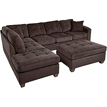 Homelegance Fabric Sectional Sofa and Ottoman Set, Chocolate