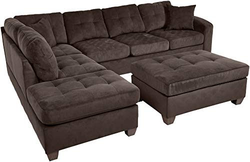 (Homelegance 2 Piece Sectional Sofa Polyester With Reversible Chaise, Two Toss Pillows, and Ottoman, Chocolate)