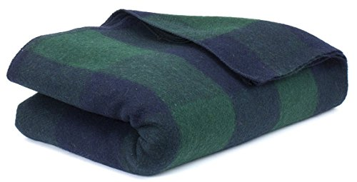 Blanket Blend Wool Throw (Bunkhouse Plaid Wool Blankets #NW-WBASBHP 80 x 62 Inches Twin Size - Machine Washable Green/Blue)