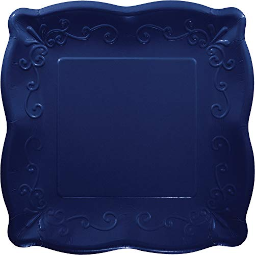 Club Pack of 48 Navy Blue Embossed Scroll Design Square Luncheon Party Plates 7.25