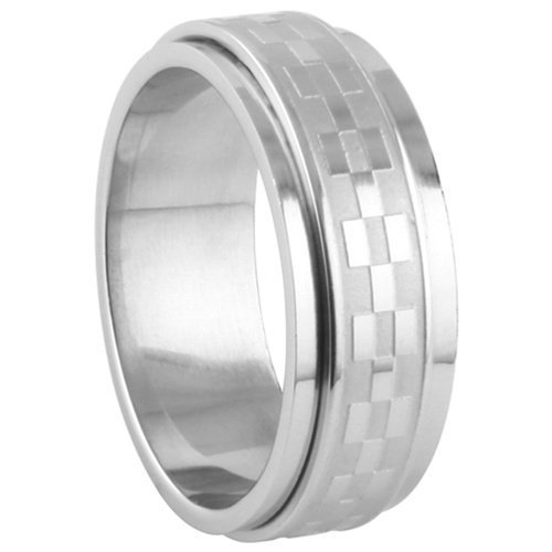 JewelryVolt Stainless Steel Ring Spinner Casting Flag Bricks Polished & Unpolished Spinner (Checkered 10)]()