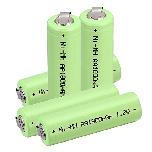 Windmax 5 x NiMH 1.2v AA 1800 mAh Electric Shaver Rechargeable Battery With Solder Tabs