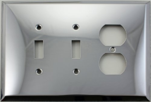 Polished Toggle (Over Sized Jumbo Polished Chrome Three Gang Switch Plate - Two Toggle Light Switch Openings One Duplex Outlet Opening)