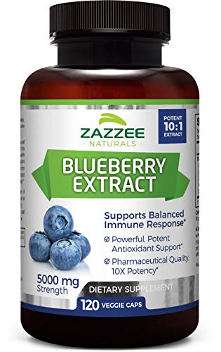 Whole Fruit Blueberry Extract | 5000 mg Strength | 120 Veggie Capsules | Potent 10:1 Extract | 4 Month Supply | All-Natural, Vegan and Non-GMO | Concentrated Source of Antioxidants and Phytonutrients Berry Extract Vegetable Capsules