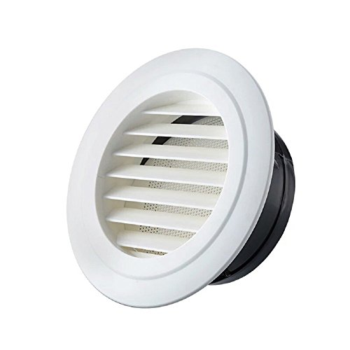 Soffit Vent (Hon&Guan 3 Inch Round Air Vent ABS Louver Grille Cover White Soffit Vent with Built-in Fly Screen Mesh for Bathroom Office Kitchen Ventilation)