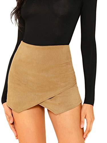 SHEIN Women's Asymetric Hem Tulip Plain Mid Waist Tulip Skorts Skirt Shorts Small Corduroy Khaki