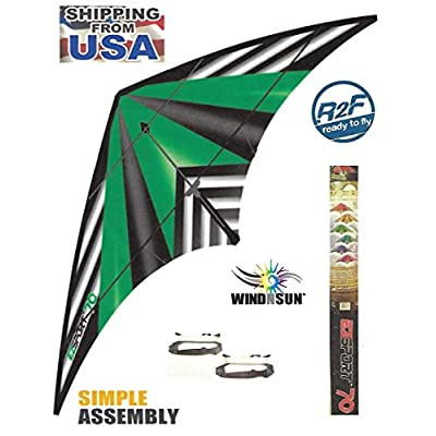 WindNSun EZ Sport 70 Green Stripe Kite: Toys & Games