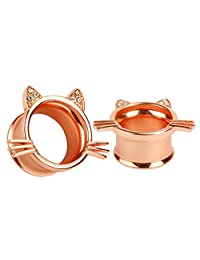 KUBOOZ(1 Pair) Cute Rose-gold Kitten Ear Plugs Tunnels Gauges Stretcher Piercings