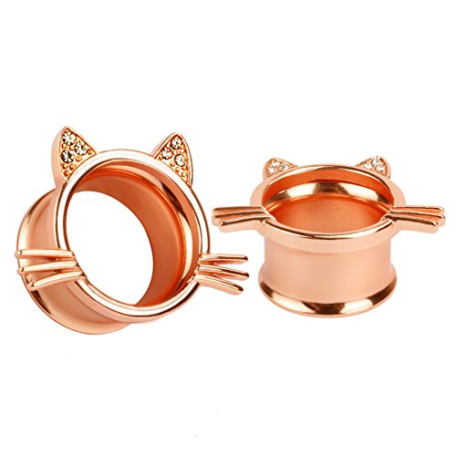 2 Gauge Earrings (KUBOOZ(1 Pair) Cute Rose-gold Kitten Ear Plugs Tunnels Gauges Stretcher Piercings)