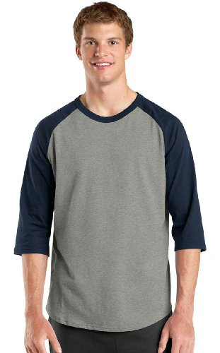 Sport-Tek Men's Colorblock Raglan Jersey XXL Heather (Cotton Jersey Sport Shirt)