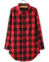 Womens Checked Long Sleeve T-shirt Ladies Casual Loose Button Down Tops Blouse