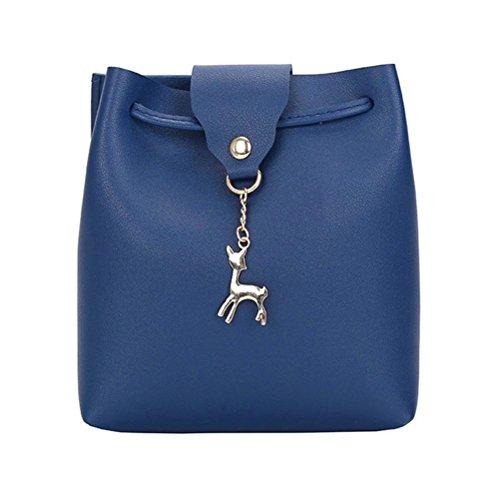 Bolso De Azul Verano Mujer Bolsa Cartera De Ciervos Cuero De Luoluoluo Mochila Hombro Mensajero Del Oblicua Múltiples Funciones Bolsa aqnwCv1xUd
