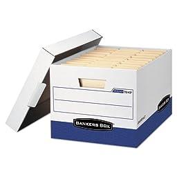Bankers Box - R-Kive Max Box, Letter/Legal, Paper, 12-3/4 x 16-1/2 x 10-3/8, White/Blue, 4/Ctn