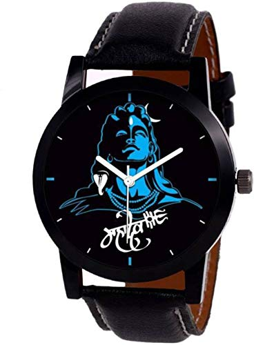 Harmi Stylish Black Leather Strap ~ MAHADEV ~ Printed Watch for Boys and Girls Watch - for Men & Women